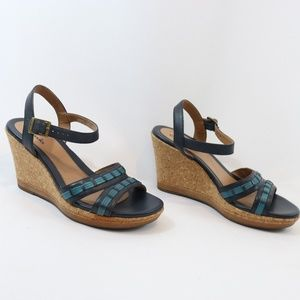 Clarks Blue Leather Cork Wedge Sandals